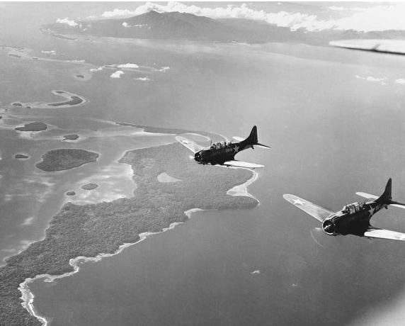 Marine-Corp-Bulldog-Fighters-Approaching-A-Target-On-Guadalcanal-Stationed-At-Henderson-Field-As-Part-Of-The-Cactus-Air-Force-Hi